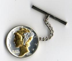 Gold and Silver on Silver Mercury Dime Tie or Hat Tack