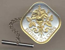 Gold on Silver Bahamas 15 Cent Hibiscus Tie or Hat Tack