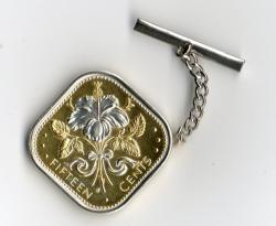 Silver on Gold Bahamas 15 Cent White Rabbit Tie or Hat Tack