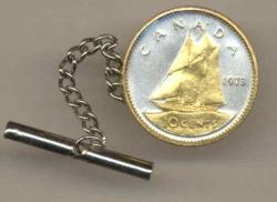 Gold on Silver Canada 10 Cent Bluenose Tie or Hat Tack