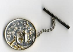 Gold and Silver on Silver Spain 50 Centimes Anchor and Wheel Tie or Hat Tack