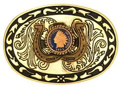 Hand Painted Indian Head Cent Belt Buckle