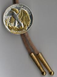Gold and Silver on Silver Walking Liberty Half Dollar (Rev) Bolo Tie