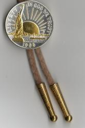 Gold and Silver on Silver Statue of Liberty Half Dollar Bolo Tie