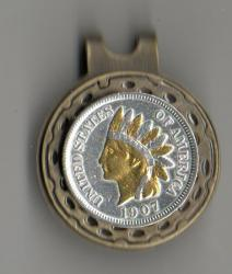 Gold and Silver on Silver Indian Head Cent Hat Clip / Ball Marker