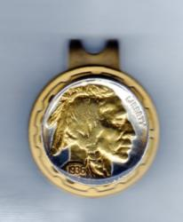 Gold on Silver Buffalo Nickel (Obv) Hat Clip / Ball Marker