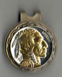 Gold and Silver on Silver Buffalo Nickel (Obv) Hat Clip / Ball Marker