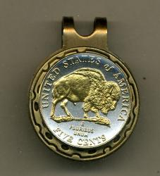 Gold on Silver Jefferson Nickel Bison Hat Clip / Ball Marker