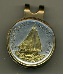 Gold on Silver Bahamas 25 Cent Sail Boat Hat Clip / Ball Marker