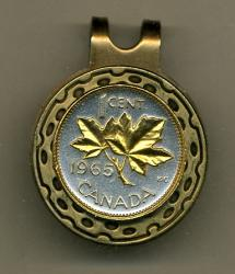 Gold on Silver Canada 1 Cent Maple Leaf Hat Clip / Ball Marker