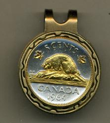 Gold on Silver Canada 5 Cent Beaver Hat Clip / Ball Marker