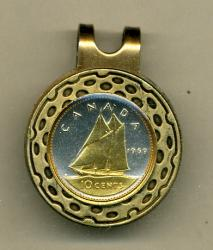 Gold on Silver Canada 10 Cent Bluenose Hat Clip / Ball Marker