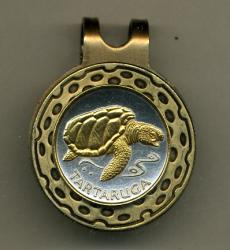 Gold on Silver Cape Verde 1 Escudos Sea Turtle Hat Clip / Ball Marker