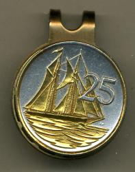 Gold on Silver Cayman Islands 25 Cent Sail Boat Hat Clip / Ball Marker