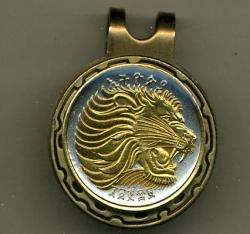 Gold on Silver Ethiopia 10 Cent Lion Hat Clip / Ball Marker