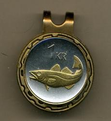 Gold on Silver Iceland 1 Krona Cod Fish Hat Clip / Ball Marker