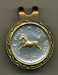 Gold on Silver India 1 Pice Horse Hat Clip / Ball Marker
