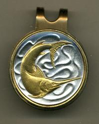 Gold on Silver Singapore 20 Cent Swordfish Hat Clip / Ball Marker