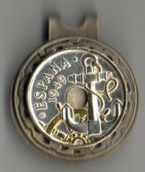 Gold and Silver on Silver Spain 50 Centimes Anchor and Wheel Hat Clip / Ball Marker