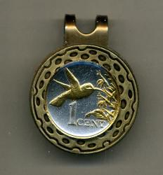Gold on Silver Trinidad and Tobago 1 Cent Hummingbird Hat Clip / Ball Marker